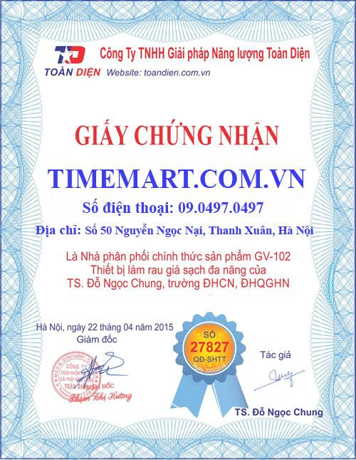 Giấy chứng nhận Máy làm giá đỗ GV-102 Việt Nam