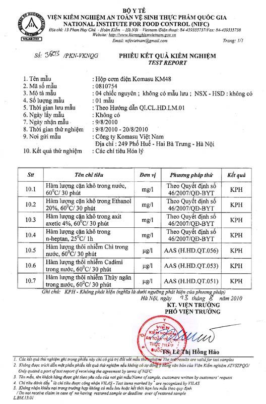 Giấy chứng nhận an toàn của bộ y tế với hộp cơm Komasu